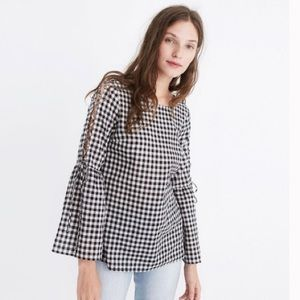 Madewell Gingham Bell Sleeve Lace Up Top